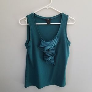 Ann Taylor Green Work Tank with Ruffle
